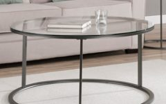 Round Coffee Tables with Glass Top and Wood