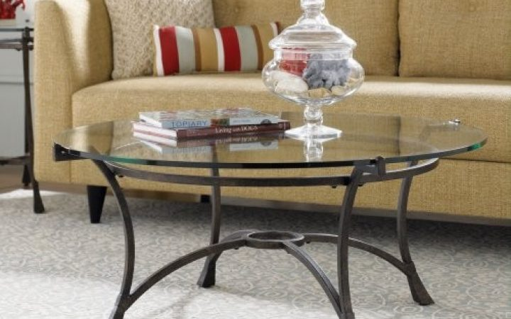 Round Glass Top Coffee Tables with Metal Base