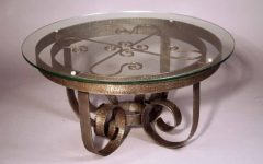 Wood and Wrought Iron Round Coffee Table Base