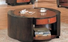 Large Round Wooden Coffee Table with Drawers