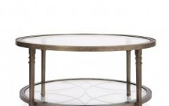 Large Round Metal Coffee Table with Glass Top