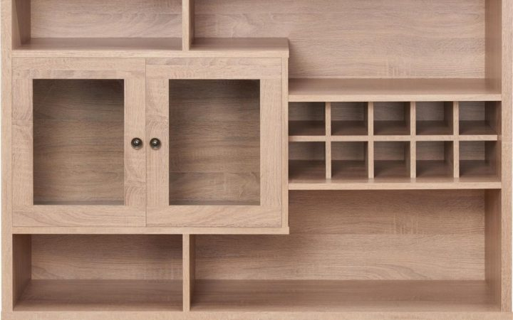 Contemporary Wooden Buffets with Four Open Compartments and Metal Tapered Legs