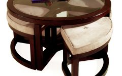 Genoa Round Wood Coffee Table with Glass Top
