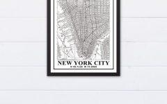 New York City Map Wall Art