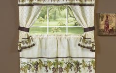 Complete Cottage Curtain Sets with an Antique and Aubergine Grapvine Print