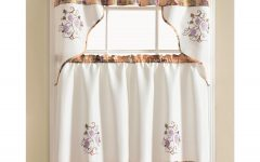 Urban Embroidered Tier and Valance Kitchen Curtain Tier Sets