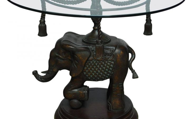 Elephant Glass Top Coffee Tables