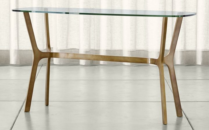 Elke Glass Console Tables with Brass Base