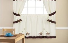 Embroidered 'coffee Cup' 5-piece Kitchen Curtain Sets