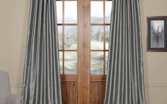 Storm Grey Vintage Faux Textured Dupioni Single Silk Curtain Panels
