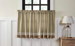 Rod Pocket Cotton Striped Lace Cotton Burlap Kitchen Curtains