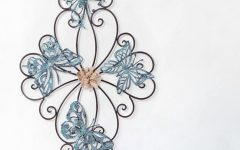 Flower and Butterfly Urban Design Metal Wall Decor