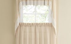 French Vanilla Country Style Curtain Parts with White Daisy Lace Accent