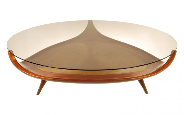 Unique Round Wood and Glass Coffee Table