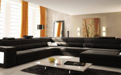 U Shaped Leather Sectional Sofa