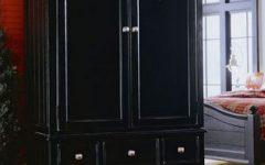 Dark Wood Wardrobe with Drawers