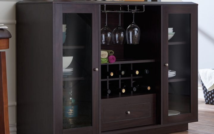 Wooden Buffets with Two Side Door Storage Cabinets and Stemware Rack