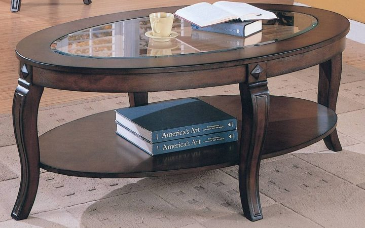Oval Glass and Wood Coffee Tables