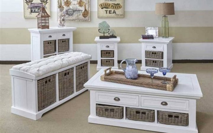 White Coffee Tables with Baskets