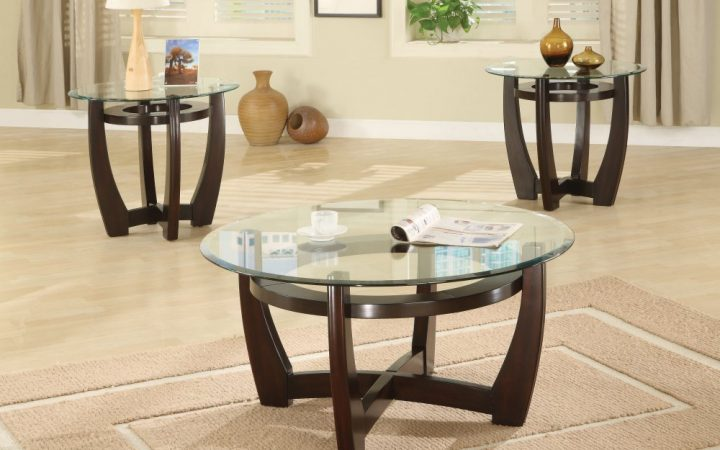 Small Round Glass and Wood Coffee Table