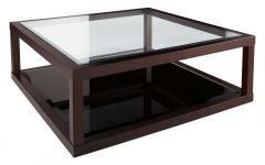 Glass and Dark Wood Coffee Table