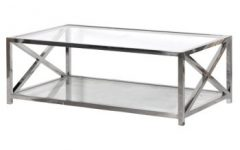 Contemporary Glass And Stainless Steel Coffee Table