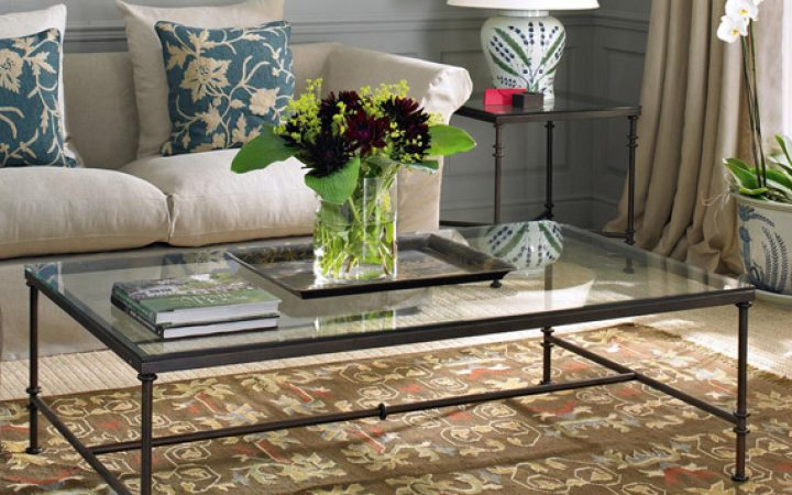 Glass Iron Coffee Table Furniture Sets