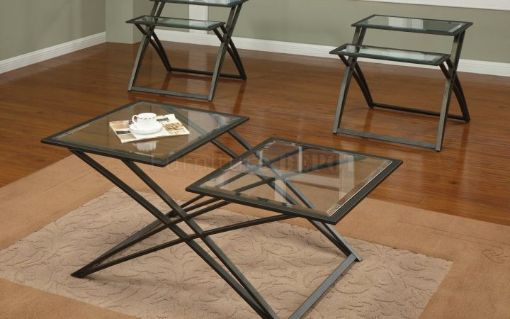 Glass Top Coffee Table with Metal Base Oval and Square