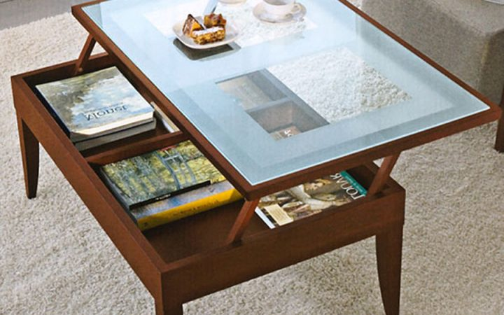 Living Room Glass Coffee Table with Storage