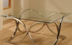 Glass Top Metal Base Coffee Table