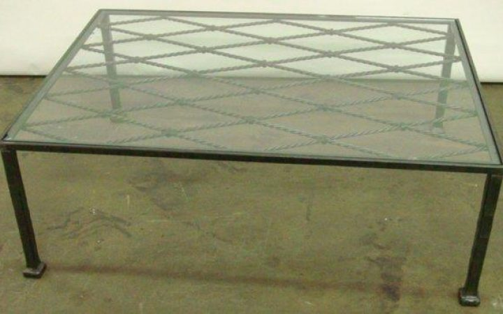 Square Glass Top Metal Coffee Table
