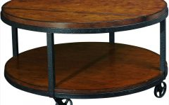 Large Round Coffee Table with Wheels