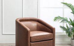 Hazley Faux Leather Swivel Barrel Chairs