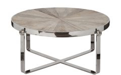 Elegant Round Chrome Coffee Table