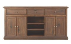 Open Shelf Brass 4-Drawer Sideboards