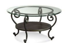 Modern Round Glass Coffee Table Metal Base
