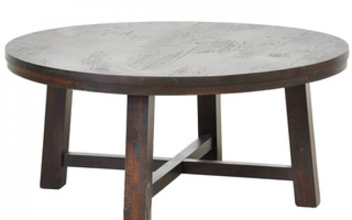 Round Pine Coffee Table with Lower Shelf