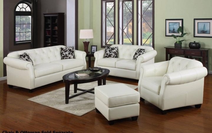 Off White Leather Sofa and Loveseat