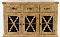 "Millstadt 52"" Wide 3 Drawer Pine Wood Buffet Tables"