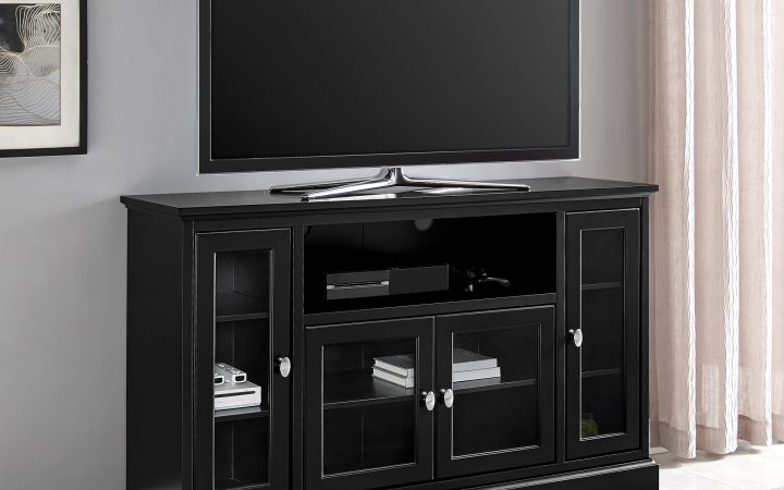 Black Tv Stand with Glass Doors