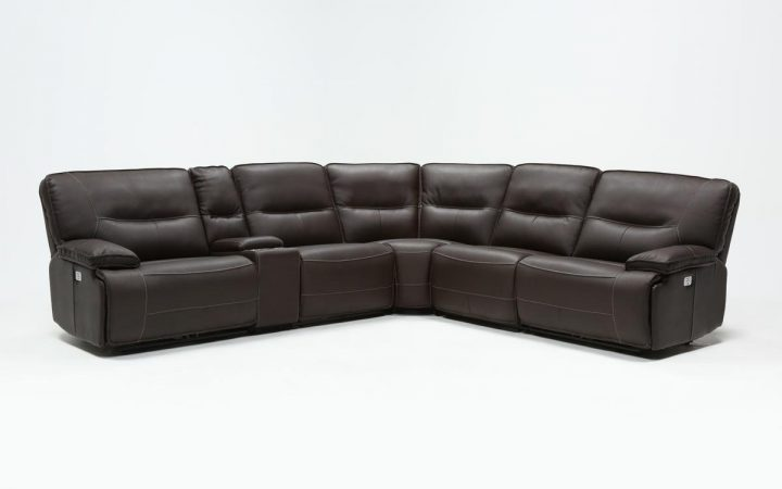 Marcus Chocolate 6 Piece Sectionals with Power Headrest and Usb
