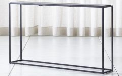 Mix Leather Imprint Metal Frame Console Tables