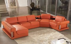 Burnt Orange Leather Sectional Sofas