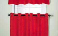 Modern Subtle Texture Solid Red Kitchen Curtains