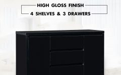 3-drawer Black Storage Buffets