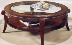 Round Wood Glass Coffee Table Chrome
