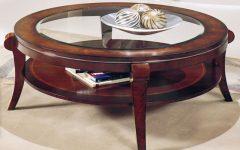 Round Wood Glass Coffee Table Chrome