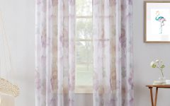 Andorra Watercolor Floral Textured Sheer Single Curtain Panels