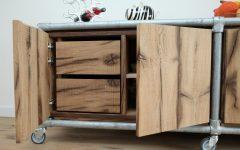 White Wash 4-door Galvanized Sideboards