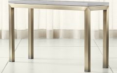 Parsons Grey Solid Surface Top & Dark Steel Base 48x16 Console Tables